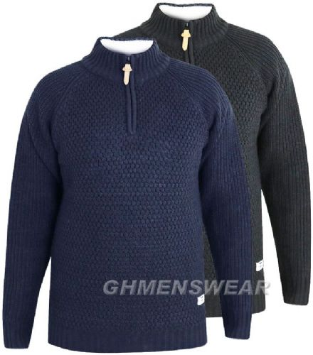 D555 BASKET KNIT HALF ZIP SWEATER
